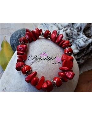 Гривна от естествени камъни, гривна от червен корал