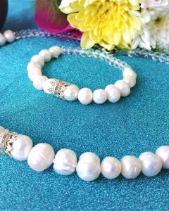Комплект от естествени бели перли 02